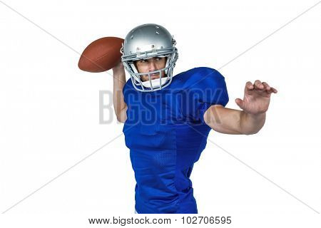 American football player throwing the ball against white background