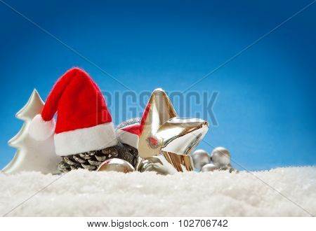 Christmas decoration isolated on blue background.