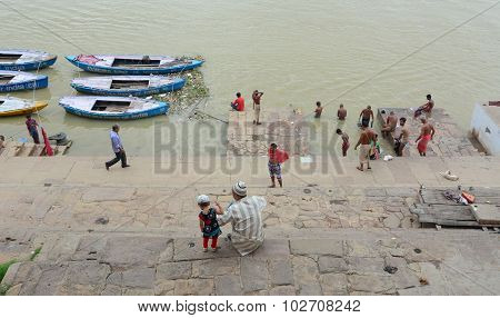 Old Wooden Boats On The Bank Of Ganges