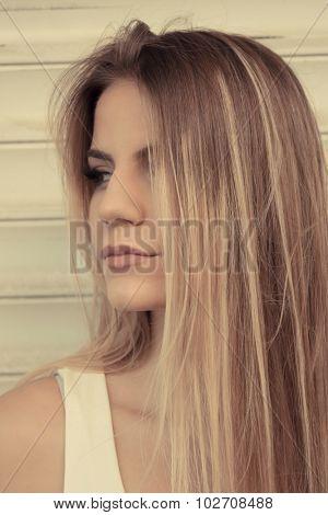 Beautiful teenage girl with straight hair