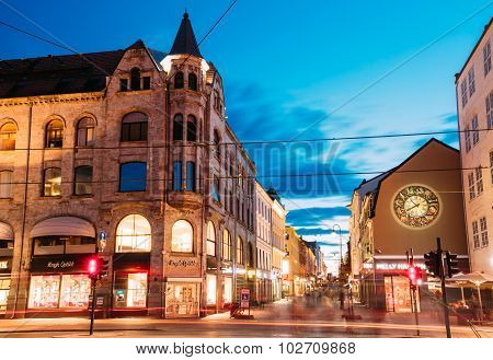 Night View of Kirkeristen street in Oslo, Norway.