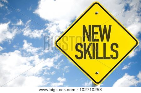 New Skills sign with sky background