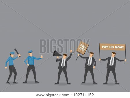 Police Vs Employees On Riot Vector Cartoon Illustration