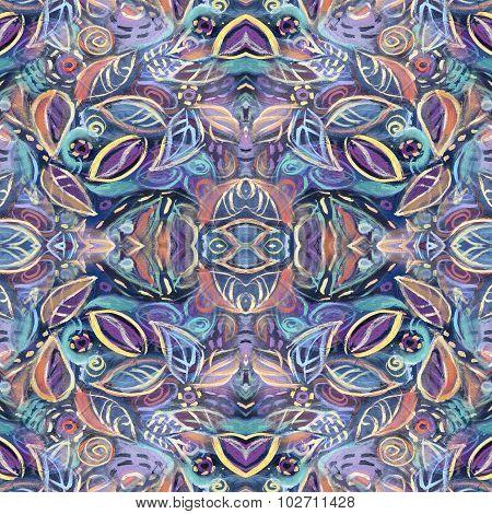 Abstract Foliage Seamless Kaleidoscopic Pattern Background