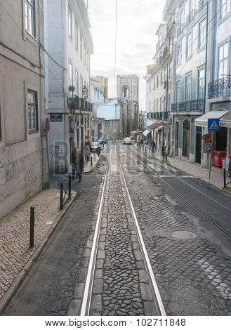 Lisbon, Portugal March 24, 2013: Old street in Lisbon downtown