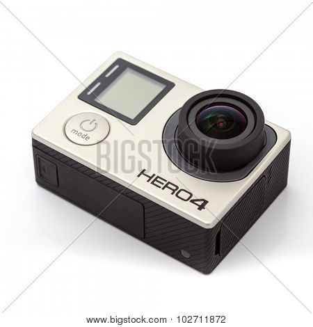 Moscow, Russia - June 29, 2015: GoPro Hero 4 Black. It is a compact, lightweight personal camera manufactured by GoPro Inc. The camera is often used in extreme action video photography.