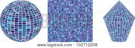Set Of Colorful Mirror, Mosaic Disco Ball. Illustration Isolated On White Background. Background Wit