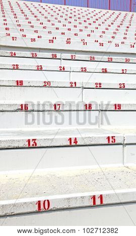 Numbered Steps In Stands  Of Modern Stadium Before The Sporting Event