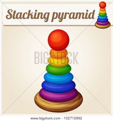Stacking toy pyramid. Cartoon vector illustration. Series of children's toys