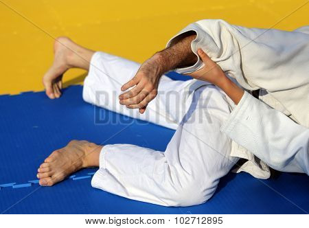 People Fight With Martial Arts During The Sporting Event