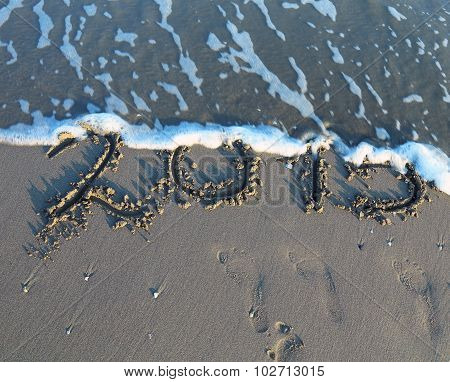 Written 2015 Year In The Sand Of The Sea