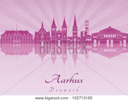 Aarhus Skyline In Purple Radiant Orchid