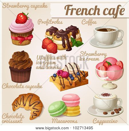Set of food icons. French cafe. Chocolate cupcake, profitroles, cup of coffee, cappuccino, Viennese