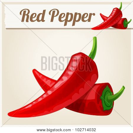 Red Spicy Peppers. Detailed Vector Icon