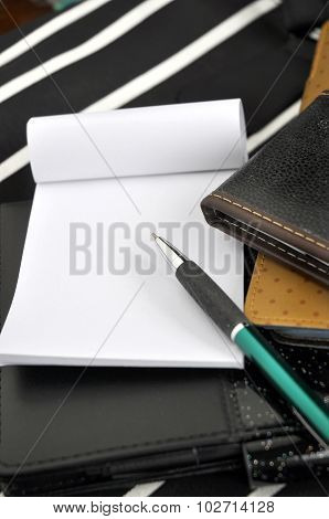 Pen Point To Blank Paper Note