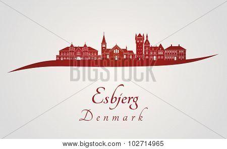 Esbjerg Skyline In Red