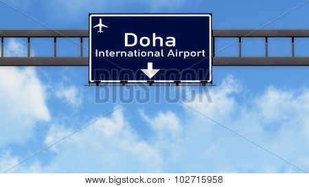 Doha Quatar Airport Highway Road Sign