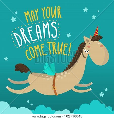 Greeting Card With Funny Flying Horse