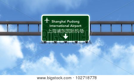 Shanghai Pudong China Airport Highway Road Sign