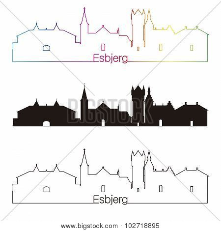Esbjerg Skyline Linear Style With Rainbow