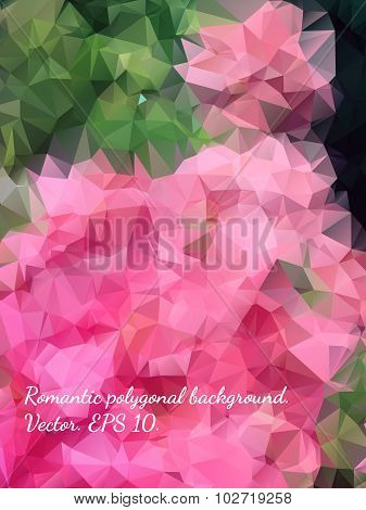 Colorful Romantic Tender Polygonal Abstract Floral Background With Pink Flowers. Best Suited For Wed