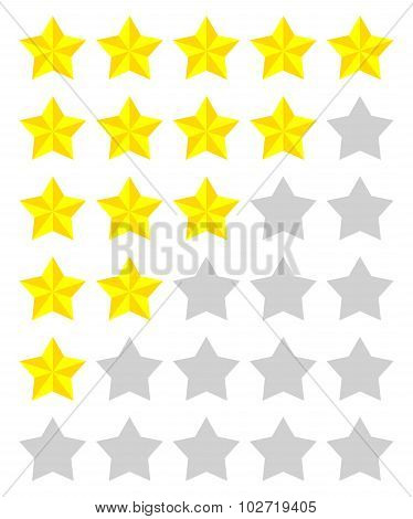 Set Of Yellow Rating Stars
