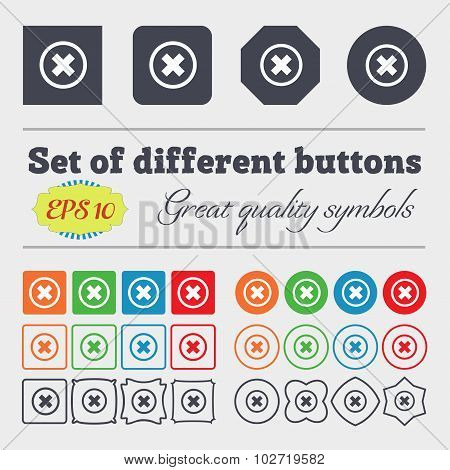 Cancel Icon. No Sign. Big Set Of Colorful, Diverse, High-quality Buttons. Vector