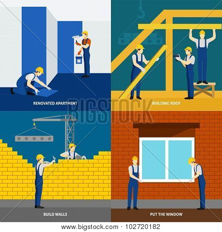 Building construction 4 flat icons square