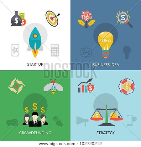 Startup crowdfunding 4 flat square banner