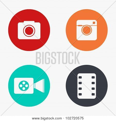 Vector modern camera colorful icons set