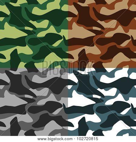 Camouflage Icons Set