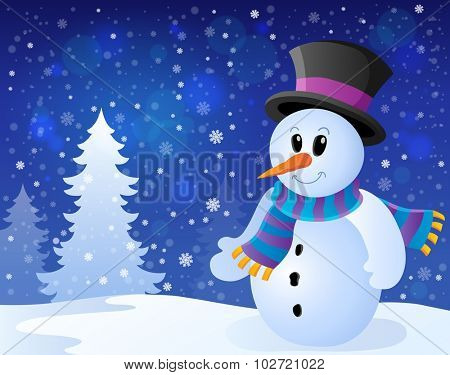 Winter snowman topic image 9 - eps10 vector illustration.