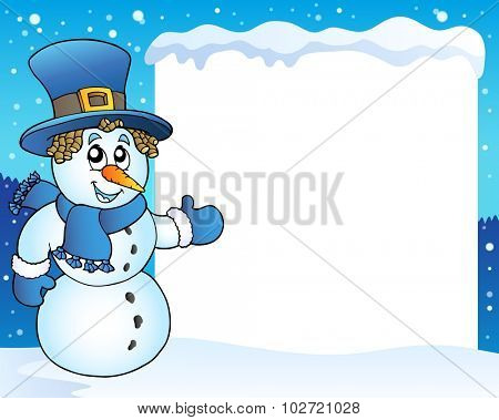Frame with snowman topic 3 - eps10 vector illustration.