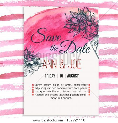 Vector  save the date card  with hand drawn herbals in rustic style and watercolor background.