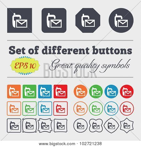 Mail Icon. Envelope Symbol. Message Sms Sign. Big Set Of Colorful, Diverse, High-quality Buttons. Ve