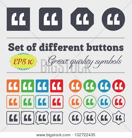 Quote Sign Icon. Quotation Mark Symbol. Double Quotes At The End Of Words. Big Set Of Colorful, Dive