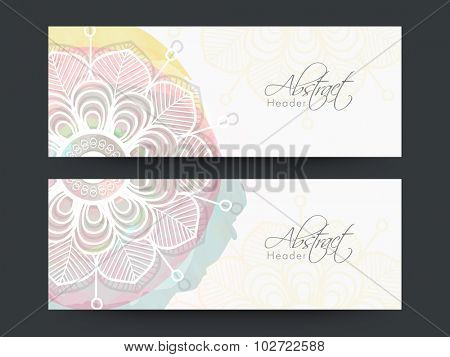 Beautiful floral design decorated, Abstract website header or banner set.