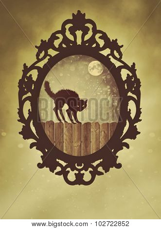 Ornate black frame with halloween cat with vintage feel