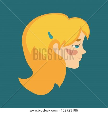 Cute Red-haired Female Head Profile With Blue Eyes, Blush And Blue Hair Clip