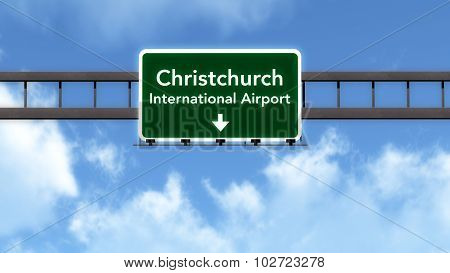 Christchurch New Zealand Airport Highway Road Sign
