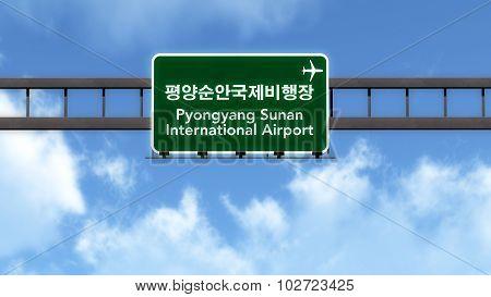 Pyongyang Sunan North Korea Airport Highway Road Sign