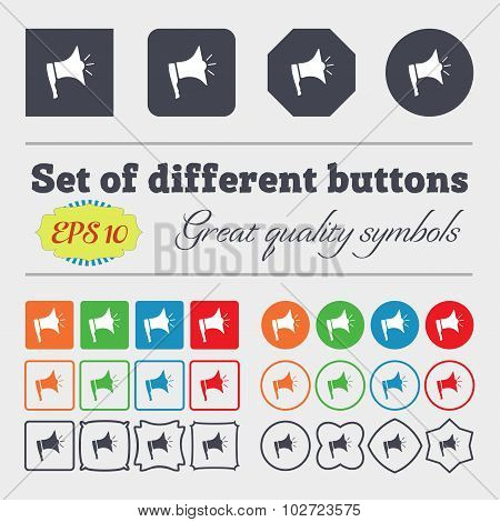 Megaphone Soon Icon. Loudspeaker Symbol. Big Set Of Colorful, Diverse, High-quality Buttons. Vector