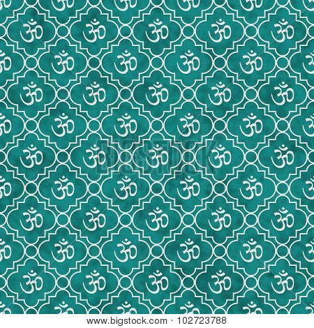 Teal And White Aum Hindu Symbol Tile Pattern Repeat Background