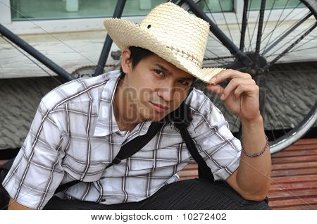 Asia Thailand Man Cowboy Sit Smile