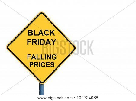 Yellow Roadsign With Black Friday Falling Prices Message