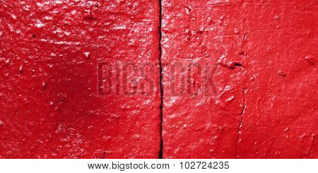 Concrete Wall Painted Red. Close Up For Backdrop.