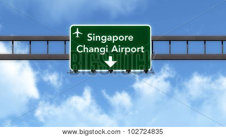 Singapore Airport Highway Road Sign