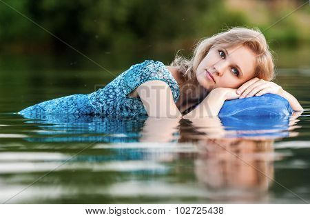 Young And Beautiful  Girl In The River.