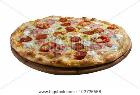 Delicious pizza on white background
