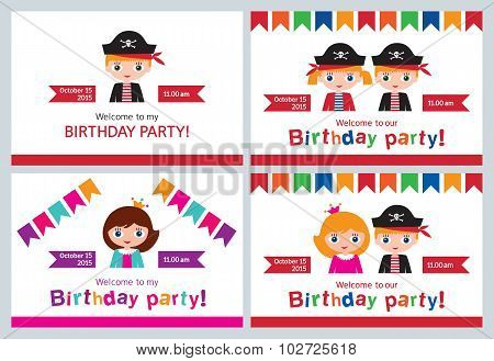 Set children's party invitations, birthday.